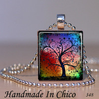 Scrabble  Pendant - Scrabble Tile Jewelry - Tree of Life Seasons Series - 348 - Colorful Existance - with Decorative MATCHBOX gift box