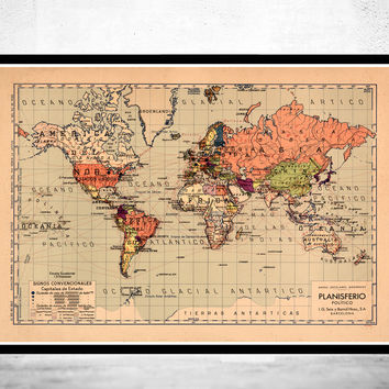 Old World Map Atlas Vintage World Map Mercator projection