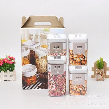Small Square Four-Piece Easy Button Cans, Multi-Grain Milk Powder Storage Box, Multifunctional Household Sealed Cans