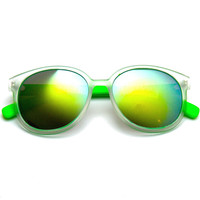 Frosted Round Revo Flash Mirror Two Tone Retro Wayfarer Sunglasses
