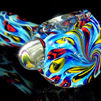Fruit Loop Water Slide - Unique Inside Out Rainbow Colorful Spoon Pipe Blown Glass Smoking Bowl - Multi Color Rings & Exquisite Swirl Flower