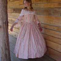 Handmade Historical Civil War Costume Victorian Colonial Pioneer Girl Dress -Pink Felicia-Child