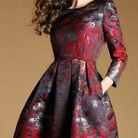 Multi color Long Sleeve Skater Dress