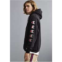 Champion Joint sugarcoat cannonball long sleeve multi-label printed hoodie Black