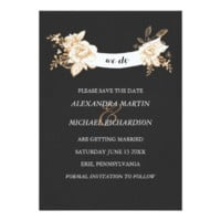 Black Velvet and Gold Floral Banner Save the Date 5x7 Paper Invitation Card