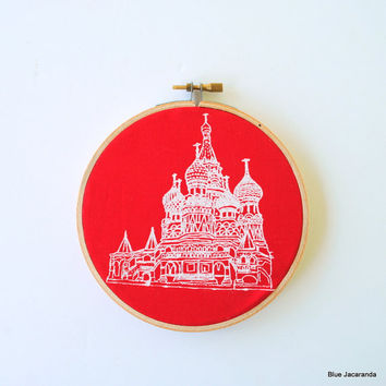 Moscow Screen Print - White on Red - Stretched in Hoop