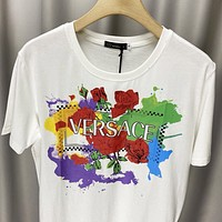Versace Summer New Fashion Letter Floral Women Men Top T-Shirt White