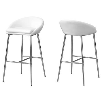 """Counter Height Bar Stools - 41"""" x 41"""" x 71'.5"""" White, Foam, Metal, Leather-Look - Barstool set of 2"""
