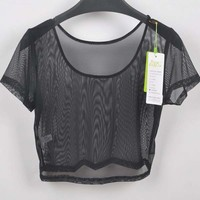 Sexy Womens Candy Crop Mesh Sheer Tops T Shirt Bodycon Night Club Party Blouse F