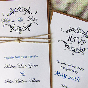 Rustic Vintage Twine Wedding Invitation Suite , Deposit Listing