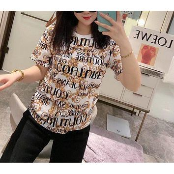 """ Louis Vuitton"" Woman Cool Casual Pattern Fashion Letter Simple Solid Color Printing Loose Large Size Short Sleeve T-Shirt Tops"