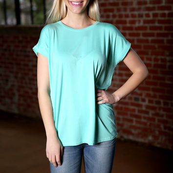 Piko Wide Sleeve Top - lucite green