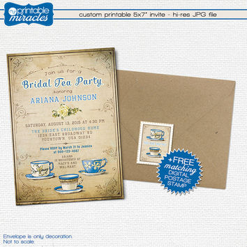 Rustic bridal shower tea party invitation, Vintage inspired printable tea party invite, Custom digital shabby chic bridal tea invites