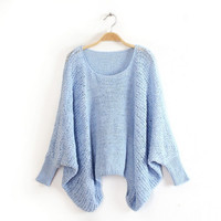 Womens Loose Baggy Knit Pullover Sweater