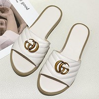 GG women's double G flat metal buckle one-line outer slippers shoes