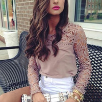 2014 New Womens Casual Long Sleeve Shirt Lace Crochet Emboriey Loose Tops Blouse