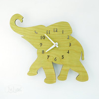 The Baby Lime Green Elephant designer wall mounted clock