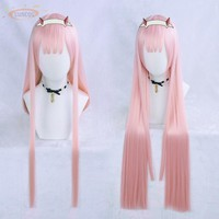 DARLING in the FRANXX Code 02 Cosplay Wig Zero Two 85cm Long Straight Pink Synthetic Hair
