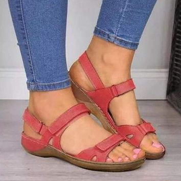 Soft Three Color Stitched Comfortable Flat Open Toe Ladies Sandals