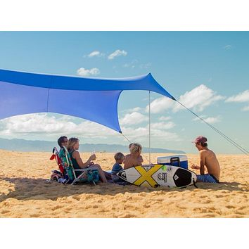 Neso Tents Grande Beach Tent, 7ft Tall, 9 x 9ft, Reinforced Corners and Cooler Pocket Periwinkle Blue