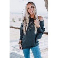 Make It Easy Waffle Knit Top - Charcoal