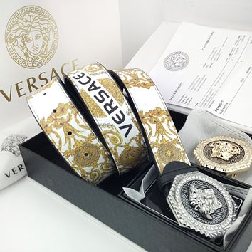 VERSACE Hot Sale Men Woman Personality Smooth Buckle Belt Leather Belt(2 Color Buckle) White