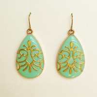 Turquoise Green Teardrop Earrings with Gold Arabesque, Large Green Earrings, Green Resin Teardrop, Hypoallergenic, Resin Jewelry For Her