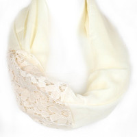 Lace Accent Infinity Scarf - Ivory