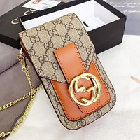 GUCCI High Quality Women Leather Shoulder Bag Crossbody Satchel Chain Mobile Phone Bag