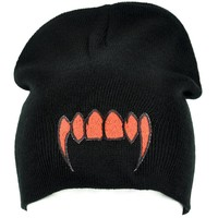 Bloody Red Vampire Fangs Beanie Occult Knit Cap