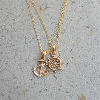 Anchor and Wheel Necklace Set [5686] - $12.00 : Vintage Inspired Clothing & Affordable Dresses, deloom | Modern. Vintage. Crafted.