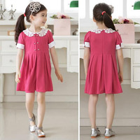 Dress Baby Girls Lace Lapel One-piece Dress Girl Dresses Clothes NW