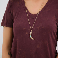 To The Moon And Back Burnish Gold Necklace With Stone And Matching Earings