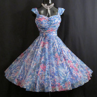 Vintage 1950's 50s Blue Pink Ruched Impressionist Print Atomic Chiffon Organza Party Prom Wedding Dress Gown