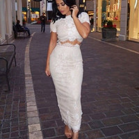 Lovely Lace Beige Two Piece Dress