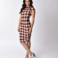 Unique Vintage 1960s Cream & Red Argyle Stretch Knit Cap Sleeve Holly Wiggle Dress