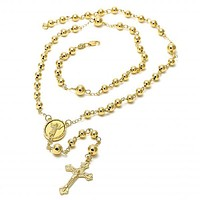 Gold Layered 5.215.006.1.30 Large Rosary, Crucifix and Divino Niño Design, Polished Finish, Golden Tone
