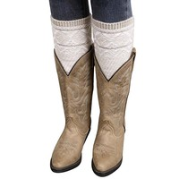 Voberry® Women Knitted Jacquard Boot Cuffs Toppers Leg Warmers Socks Boot Cover