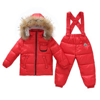 Child Thick Down Coat Racoon Fur Collar Warm Trousers   red   S