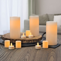 Real Wax Flameless Cream Candle SET Auto Timer - Set of 11