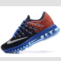 Tagre™ NIKE Trending Fashion Casual Sports Shoes AirMax Toe Cap hook section knited Orange black white hook blue soles
