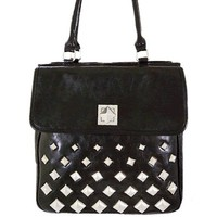 Hot! Pyramid Stud Faux Leather Handbag w/ Purse Shoulder Strap Black