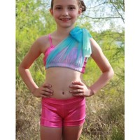 Jessica Top - Pink with Turquoise Sash - Dancewear