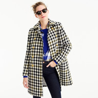 Double-breasted coat in oxford check