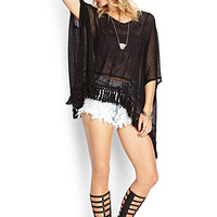 FOREVER 21 Embroidered Fringe Poncho