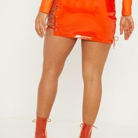 Neon Orange Vinyl Lace Up Side Mini Skirt