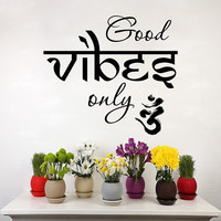 Good Vibes Only Wall Decal Yoga Vinyl Sticker Meditation Decals Home Indian Decor Bedroom Dorm T92