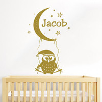 Owl Wall Decal Name Vinyl Sticker Personalized Custom Name Moon and Stars Decals Children Kids Baby Name Girls Nursery Boys Room Decor AN677