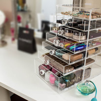 Clear Acrylic Makeup Organizer Deluxe w/ Diamond Handle Drawers & Dividers | Cutie Cube (Luxe) | Cosmetic Storage Box