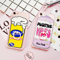 Korea Fashion cute spray bottle Beer pink frame hard Transparent Case For iphone 6 6s 7 Plus back cover Protective Fundas